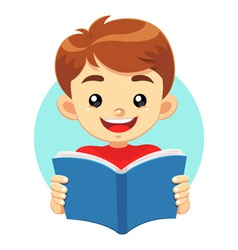 Little boy reading a blue book vector