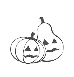 Couple pumpkins for halloween silhouette vector