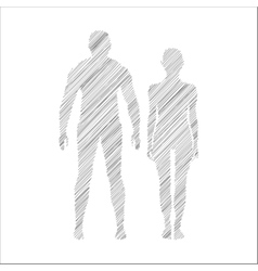 Man and woman icon doodle style vector