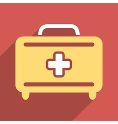 Medical baggage flat square icon with long shadow vector