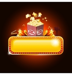 Golden movie theater banner sign with pop corn and vector