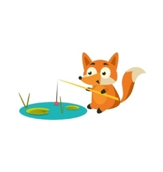 Fox fishing with a rod vector