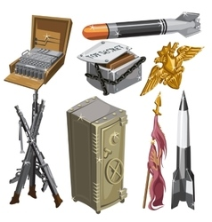 Rocket flag weapons and other isolated objects vector