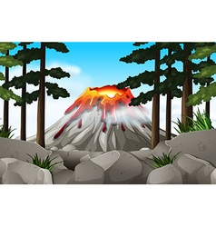 Nature scene with volcano and forest vector