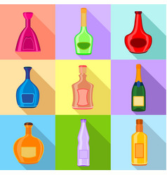 alcohol bottles icons set flat style vector image