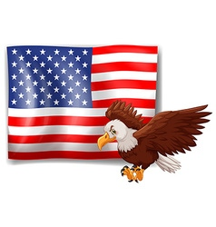 American flag and wild eagle vector