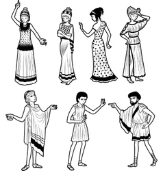 Ancient Greek tragedy characters vector image vector image
