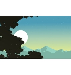 At night tree and mountain background scenery vector
