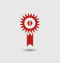 badge with ribbons or award icon on white vector image vector image