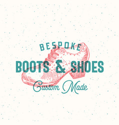 Bespoke boots and shoes retro sign symbol vector