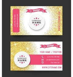 Business card template golden pattern on white vector image vector image
