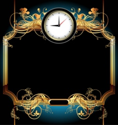 clocks with floral elements vector image vector image
