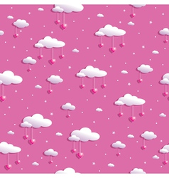 clouds and hearts vector image vector image