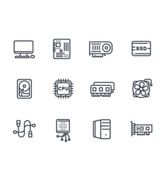 Computer components icons on white vector