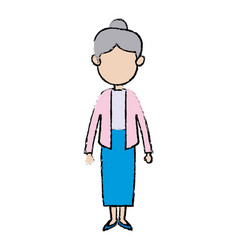 Cute grandmother member adult of family vector