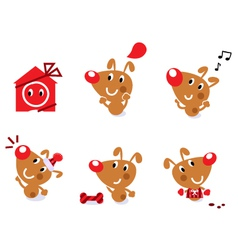 cute retro christmas dog vector image vector image