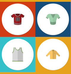 Flat icon dress set of singlet casual t-shirt vector