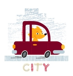 Fox with car t-shirt design vector