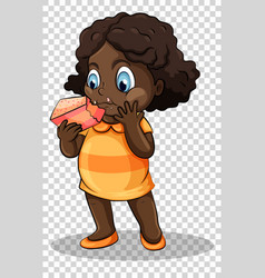 Girl eating cake on transparent background vector