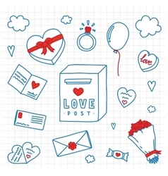 Hand drawn Valentines Day isolated objects vector image vector image