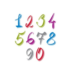 Handwritten numbers modern numbers set vector