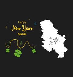 Happy new year theme with map of serbia vector