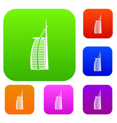 Hotel burj al arab in united arab emirates set vector