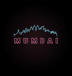 Mumbai skyline neon style vector