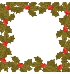 Ornament border with leaves christmas and berrys vector