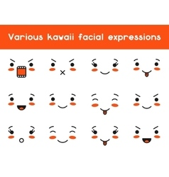 Set of kawaii doodle various facial expression vector image vector image