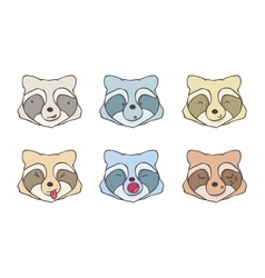 The set of faces raccoons vector image