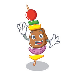 waving barbecue character cartoon style vector image