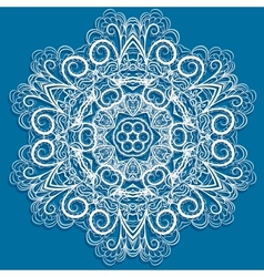 White snowflake on blue vector image vector image