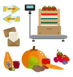 worldwide food shipping heavy delivery ways vector image