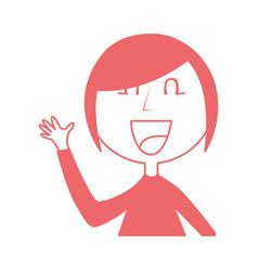 young woman waving avatar character vector image