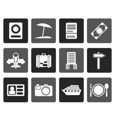 Flat travel trip and holiday icons vector