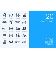 Set of blue hamster library coworking icons vector
