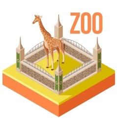 Zoo giraffe isometric icon vector