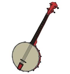 Red four strings banjo vector