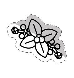 poinsettia flower christmas cut line vector image