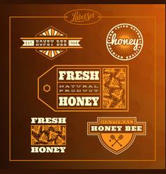 honey bee label set vector image