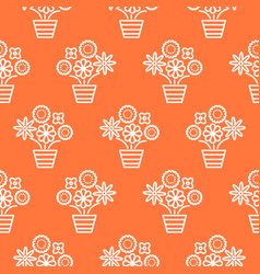 Coral orange and white line flower pots seamless vector