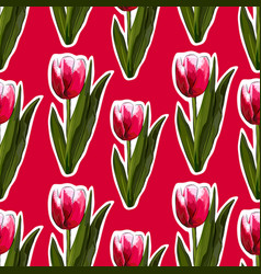 watercolor tulips seamless background vector image