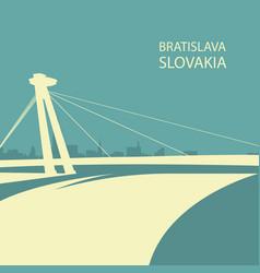 Bratislava cityscape with ufo bridge silhouette vector