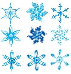 Set of nine snowflakes on white vector image
