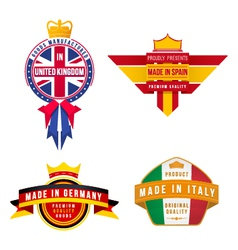 Set of made in united kingdom germany spain italy vector
