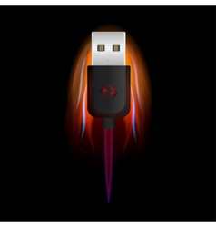 Usb on fire vector