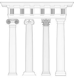 classic columns set vector image