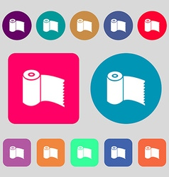 Toilet paper wc roll icon sign 12 colored buttons vector