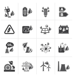 Black green energy and environment icons vector